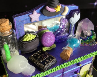 SALE Miniature Witch Dollhouse Table with potions, glow in the dark skull