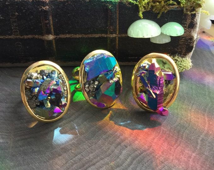 Crystal Ring, Rainbow Titanium, quartz cluster with pyrite, druzy, druse, cocktail, statement ring