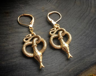 Snake Earrings in silver or gold tone, sold per pair (leave qty as 1)