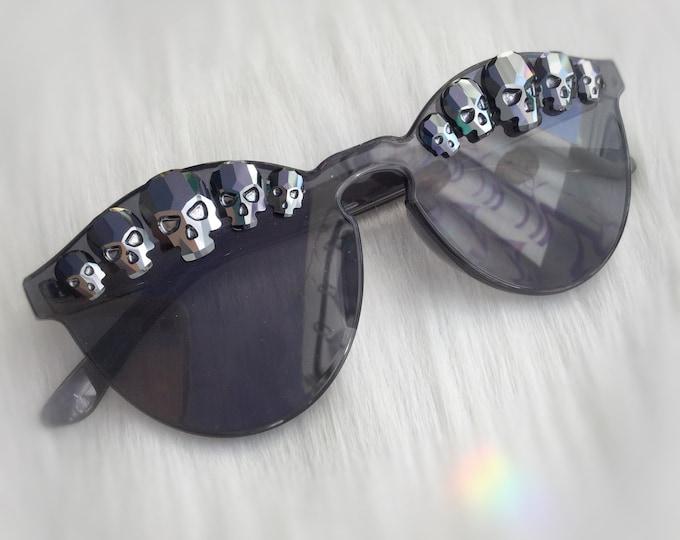 Skull Sunglasses, Black Rhinestone Swarovski® Components