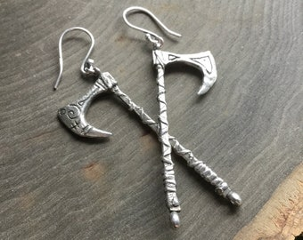 Viking Axe earrings on sterling silver fish hooks