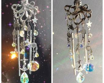 Nautical Octopus Crystal Suncatcher and Wind chime, with Ocean themed charms