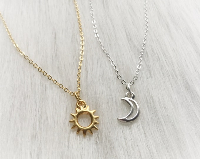 Sun and Moon friendship necklaces, Dainty, Minimalist Jewelry