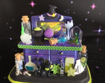 SALE Witchy Miniature Dollhouse Table with potions, glow in the dark skull