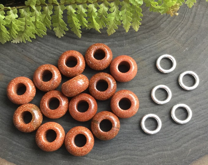 Goldstone dread beads, 6mm hole, Sandstone dread bead set * FOR SMALL LOCS *