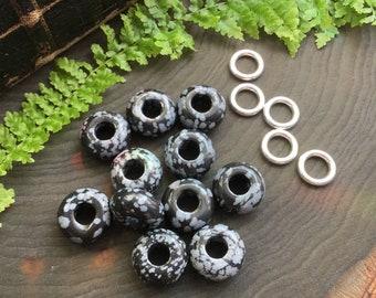 Snowflake Obsidian dread beads, 6mm hole, dreadlocs bead set * FOR SMALL LOCS *