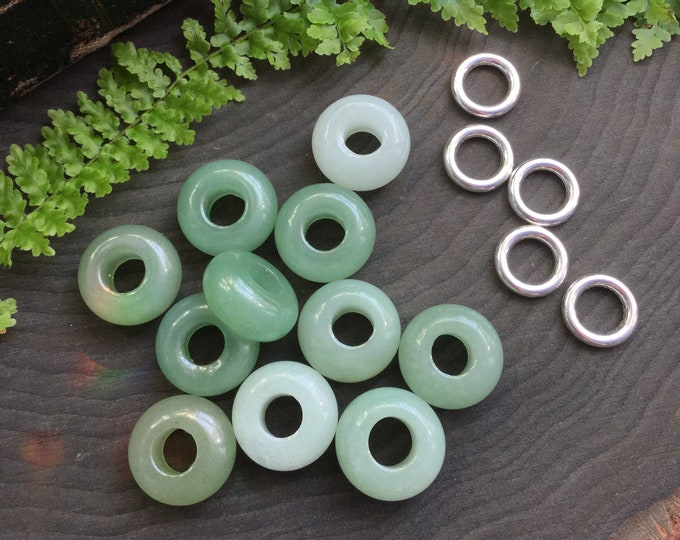 Green Aventurine Dread beads, dread bead set * FOR SMALL LOCS * 5-6mm hole