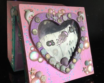 SALE Mermaid Trinket box with heart shaped window, embellished with Seahorse, Dolphin, Jellyfish