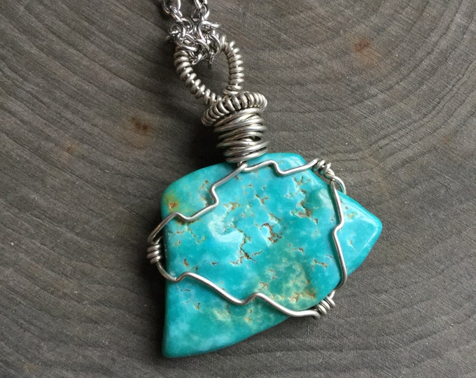 Turquoise Necklace, genuine raw wire wrapped gemstone