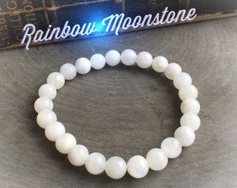 Rainbow Moonstone stretch beaded bracelet, 8mm beads