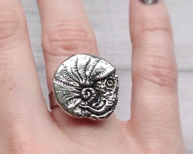 SALE Nautilus Shell ring, nautilus cephalopod totem animal, Ammonite, sea creature, mermaid, fossil,