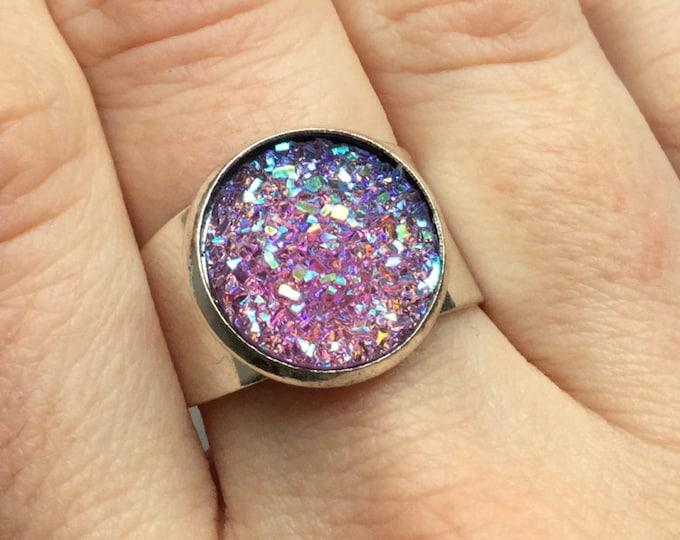 SALE Lavender Aura Druzy Druse faux stone ring, other colors available