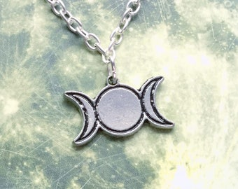 Triple Goddess moon necklace pagan, wiccan jewelry, cord, chain or tattoo choker,