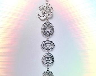 Chakra Om Quartz window hanger, Your choice of silver or gold, meditation room, decoration