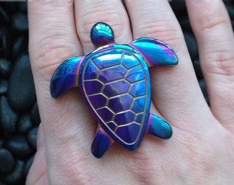 SALE Turtle ring, rainbow titanium aura, sea turtle totem, mermaid, spirit