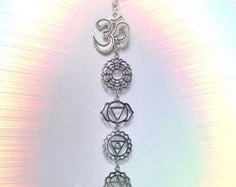 "Chakra Om Quartz window hanger, 13"" Your choice of silver or gold, meditation room, decoration"