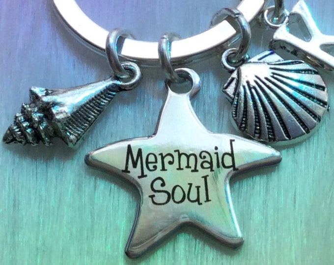 Mermaid Keychain Clip with Seashell charms, Personalized Initial keychain