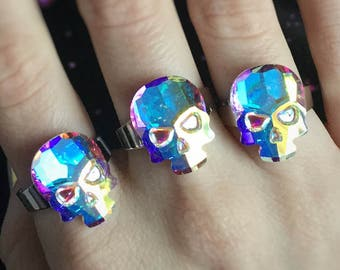 SALE Crystal Skull ring, Adjustable, Swarovski Crystal component with AB coating