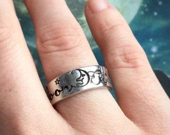 MoonChild ring, adjustable pewter hand stamped ring
