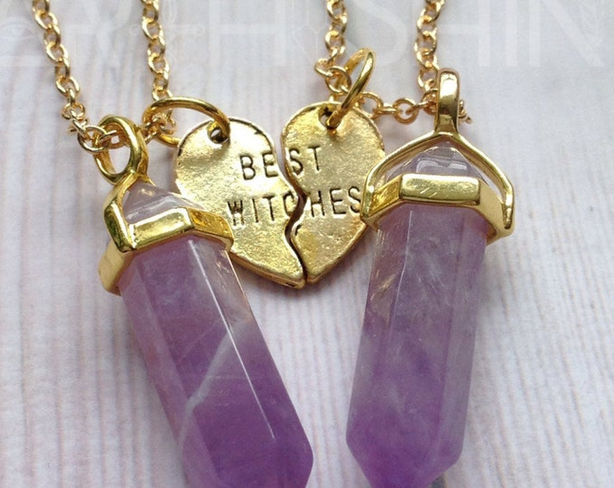 Best Witches Crystal necklaces, YOUR CHOICE OF gemstone, best friends necklace set