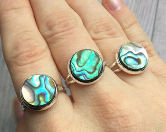 Mermaid Shell Ring, Abalone, Paua shell, adjustable silver tone base