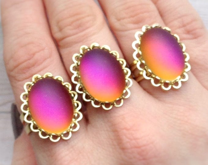 SALE Sunset Ring Pink and Orange, size 5-6