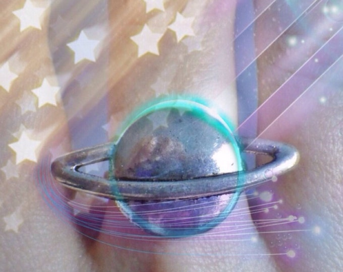 Saturn Planet adjustable ring, Space jewelry, Cosplay