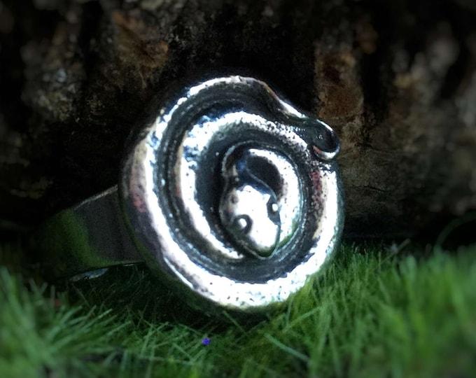 SALE Snake Spiral Ring, Goddess power animal, Adjustable from size 5 -10