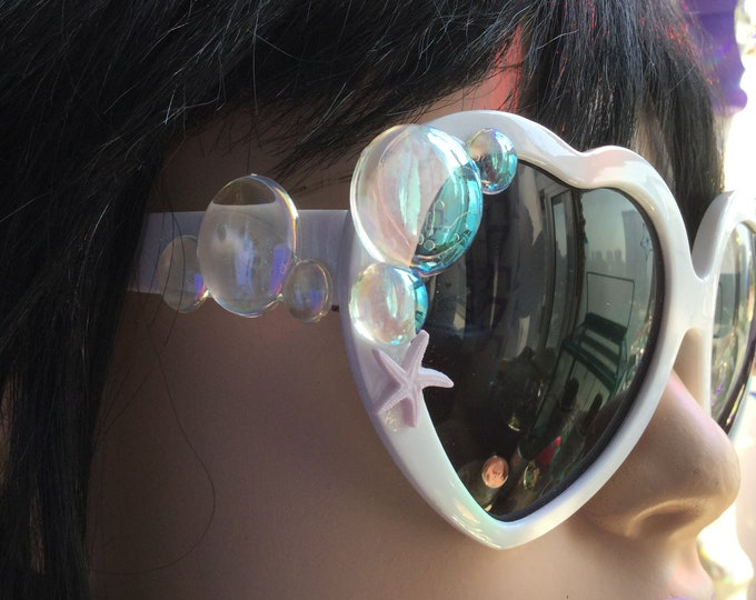 Mermaid Sunglasses, White heart shaped sun glasses, with iridescent bubbles