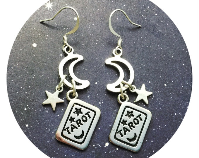 Tarot Moon and Star dangle Earrings, sold per pair (leave qty as 1)