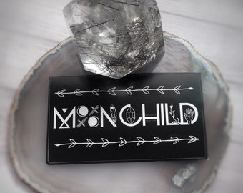 "MoonChild sticker, 3.5 x 2"" Moon child, Moon, (business card size) DRY locations only"
