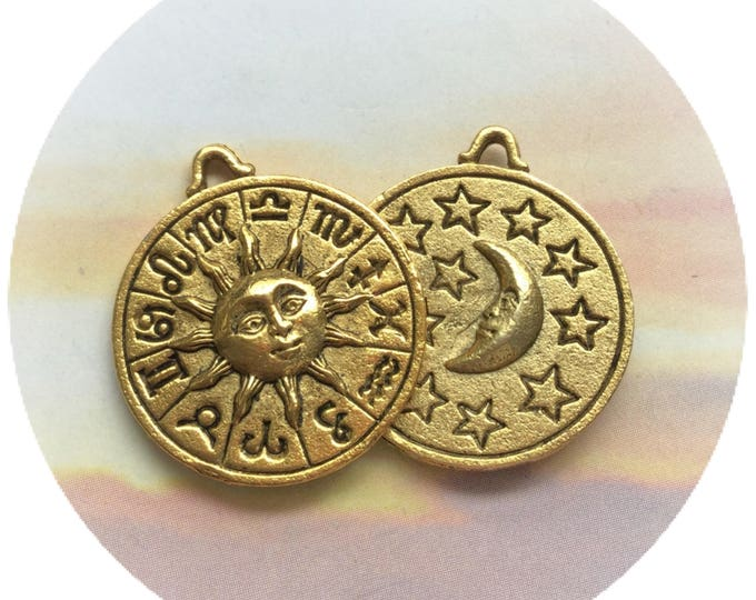 Zodiac Sun and Moon necklace, double sided, your choice of silver or gold