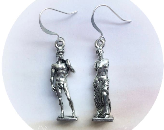 Venus de Milo and David Statue Art earrings in silver pewter or gold plated, gift idea for artist, (leave qty as 1 to receive 1 pair)
