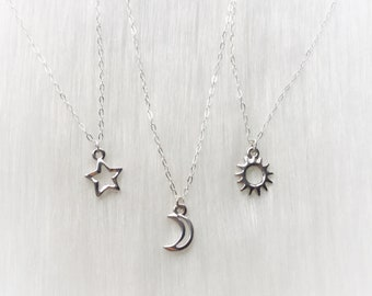 Dainty Silver Sun, Moon or Star necklaces, Sterling Silver chain, Minimalist Friendship Jewelry