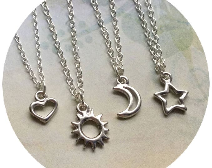 "Sun, Moon Heart or Star Friendship necklaces, dainty 18"" silver plated chain"