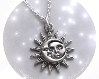Sun and Moon necklace in silver or gold plated