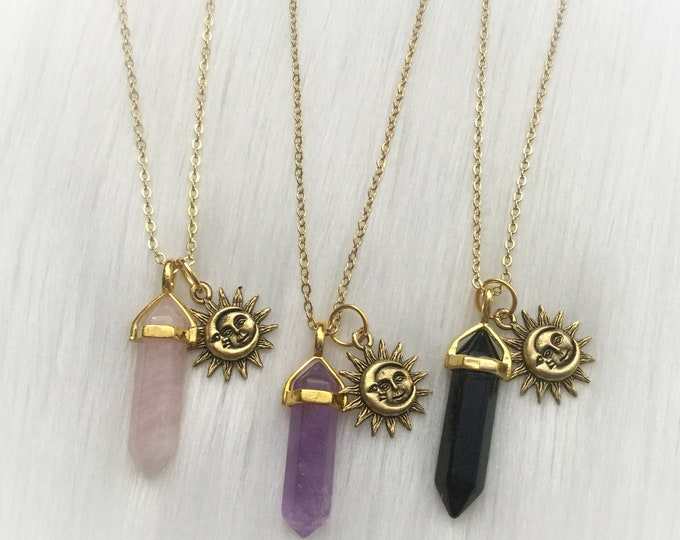 Set of Three Crystal Friendship necklaces, with Sun and Moon, YOUR CHOICE of gemstone, best friends necklace set
