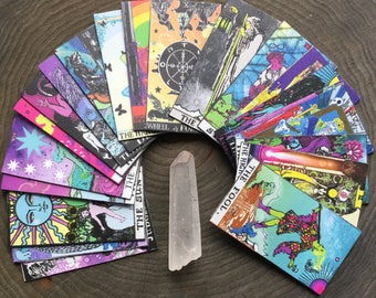 Mini Tarot cards, Magnetic Major Arcana deck, Limited Edition 22 handcut cards