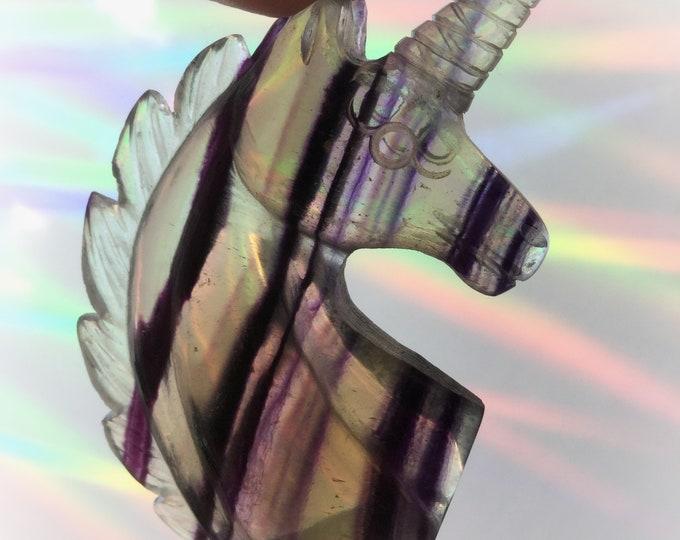 Crystal Unicorn, Purple Striped Fluorite, Gemstone carving