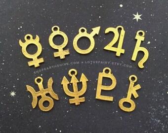 Gold Planet Symbol Glyph charms, Jupiter, Saturn, Mars, Pluto, Neptune, symbols, 18mm pendant charms