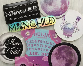 Witchy Pastel Moonchild Sticker set, Purple Luna, 3 inch - dry locations only