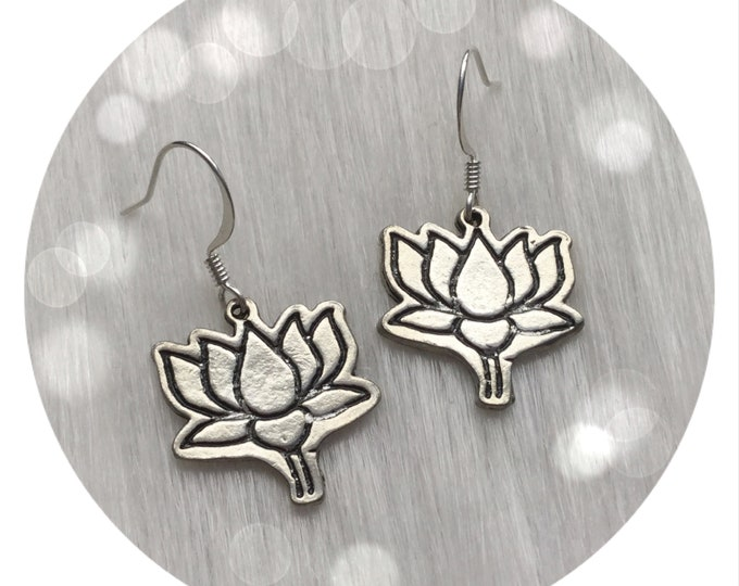 Lotus Flower Earrings in silver or gold, sold per pair (leave qty as 1)