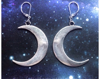 Large Moon earrings, silver crescent luna earrings for regular or stretched ears, sold per pair (leave qty as 1)