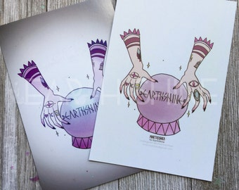 Crystal Ball and hands Bohemian Art Print, double sided postcard,