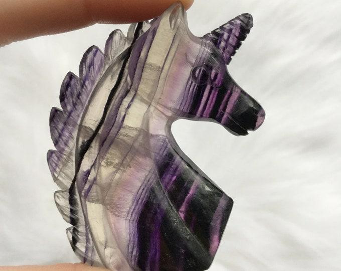 Carved Fluorite Unicorn, Purple Striped Fluorite, Crystal Gemstone carving