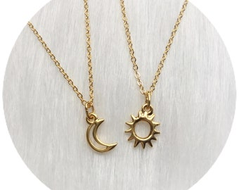 Moon and Sun friendship necklaces, Dainty, Minimalist Jewelry Sold individually, or as a set
