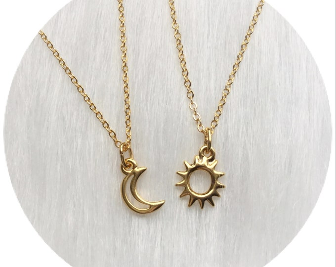 Moon and Sun friendship necklaces, Dainty, Minimalist Jewelry