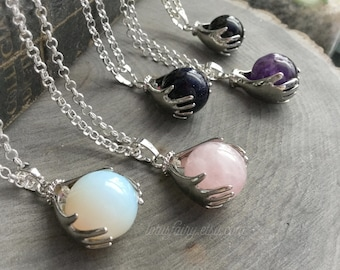 Crystal ball necklace, Amethyst, Rose Quartz, Blue Goldstone, Opalite or Obsidian
