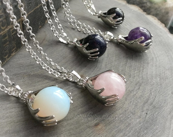Crystal ball necklace, Amethyst, Rose Quartz, Blue Goldstone, Opalite or Obsidian