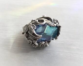 Aqua Aura geometric Crystal ring, adjustable brass base